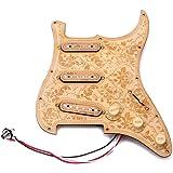 ammoon 木製ギターピックガード メープルウッドプレート SSSピックアップ 装飾的な花柄 フェンダー STエレクトリックギター用