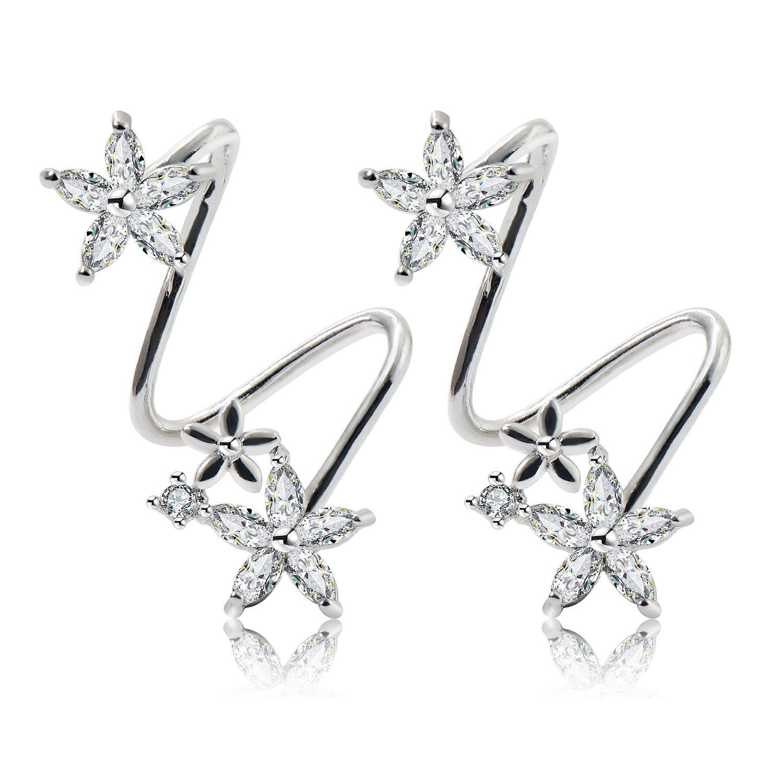 CISHOP Flower Fairy Women Cubic Zirconia Ear Cuff Elegant Ear Wrap Climber Earrings