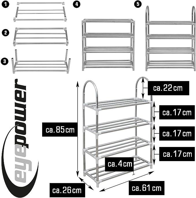 Étagère à chaussures 4 niveaux 61x26x85 cm Couloir Chaussures Tiroir Métal Chaussure Support