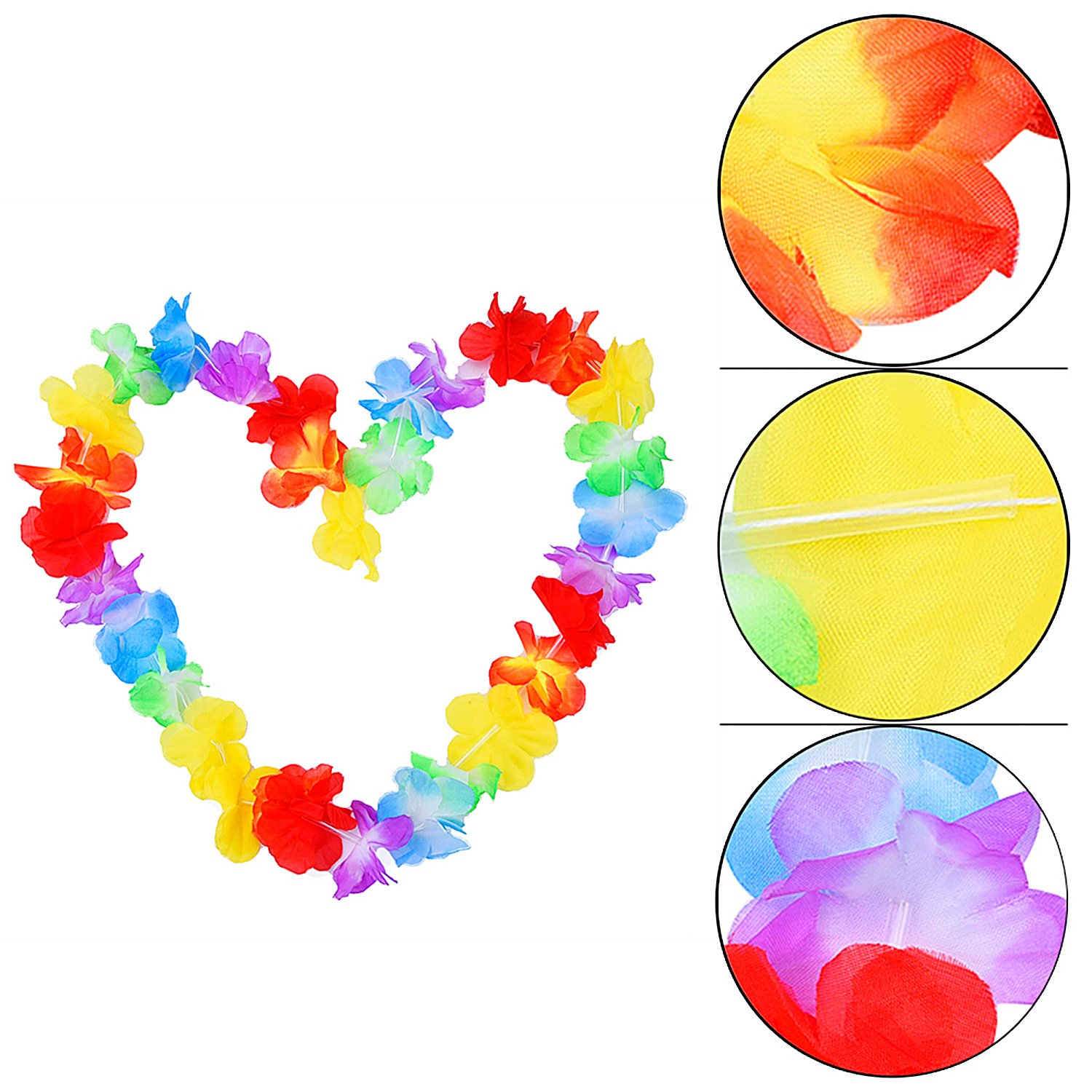 Red Simi 10 Pieces Multicolor Hawaiian Ruffled Flower Lei Leis For