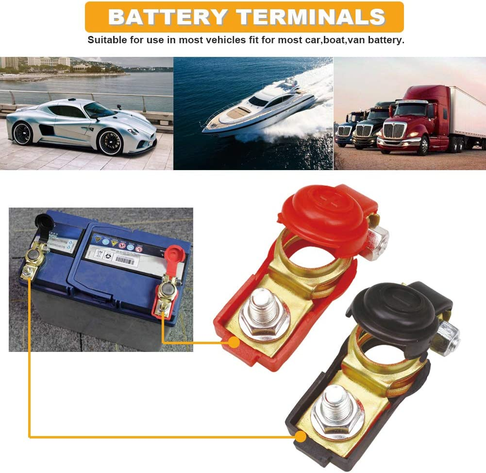 Terminales de bater/ía Abrazaderas 1 par 12V Liberaci/ón r/ápida Terminales de bater/ía Abrazaderas Conector para caravana de coches Barco Autocaravana