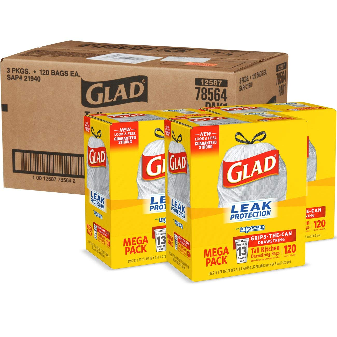 Glad Tall Kitchen Drawstring Trash Bags - 13 Gallon - 120 Count - 3 Boxes/Case