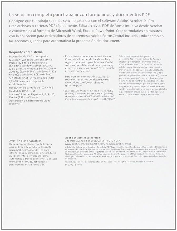 Adobe Acrobat XI Pro - Completo - Windows - Español: Amazon.es: Software