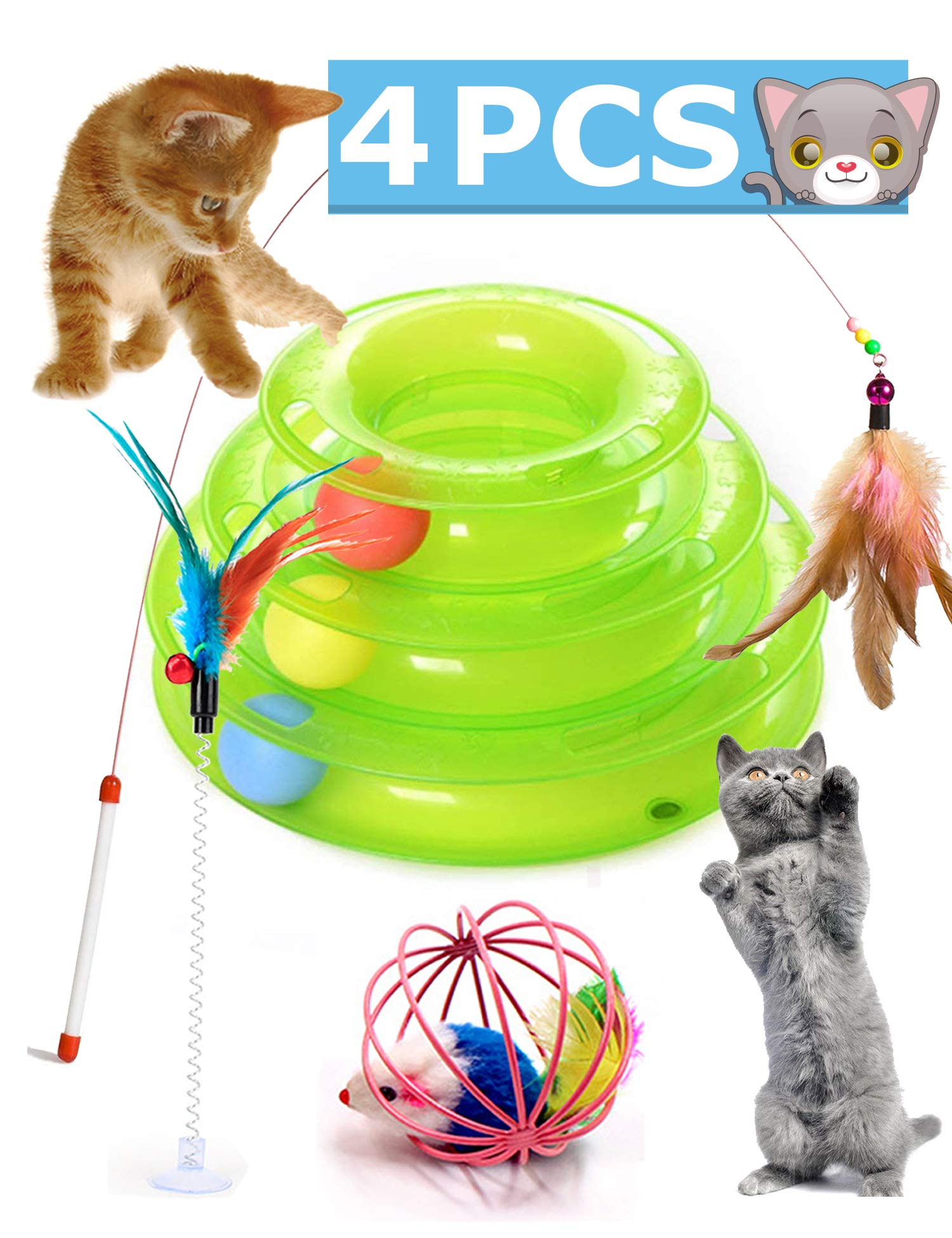 Petove Cat Toys Tower of Tracks 3 Level Cat Tracks Interactive Ball Toy, Cat Teaser Wand, Cage Mouse and Feather Fluffy Mouse Toy Setfor Cat, Kitten(Green 4 Toys)