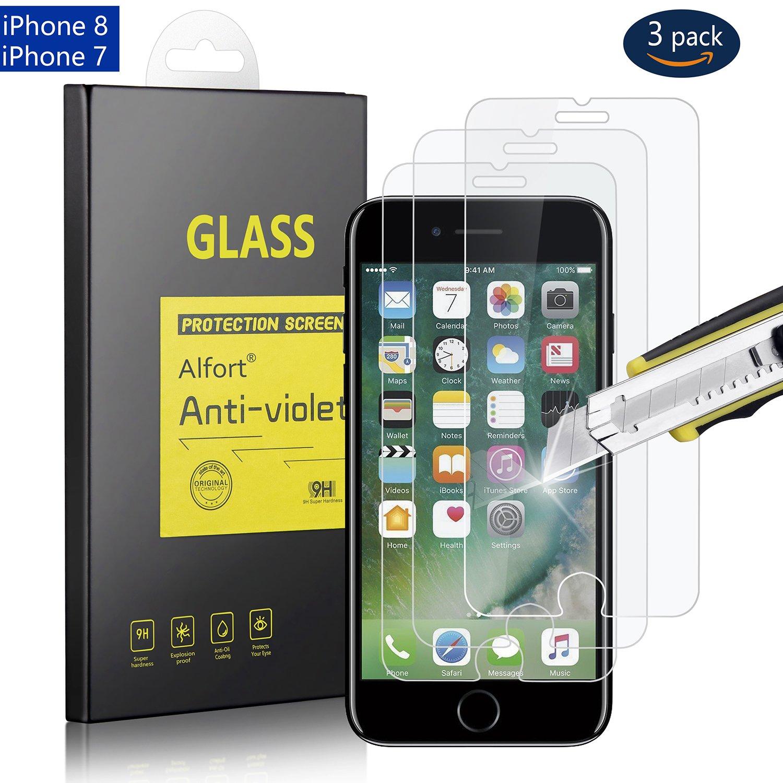 [3パック] iPhone 8 / iPhone 7用スクリーンプロテクター、Alfort強化ガラス製スクリーンプロテクターフィルム[エッジをカバーしない] 0.3mm 9H iPhone 8 / iPhone 7用スマートフォン[透明2]   B077MZH5CL