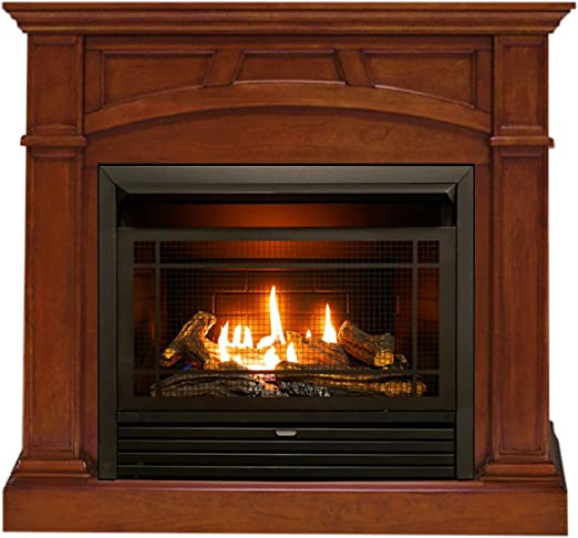 Duluth Forge Finish Heritage Cherry Dual Fuel Ventless Gas Fireplace-26,000 BTU Remote Control