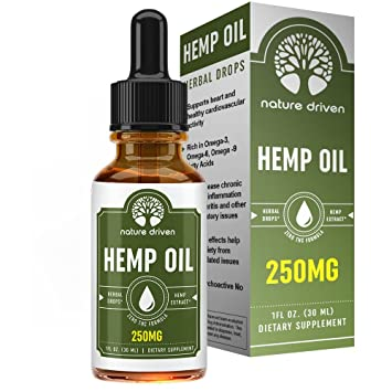 Hemp Oil Extract (250mg) - for Pain Relief and Anti-Anxiety Support -  All-Natural Ingredients - Promotes