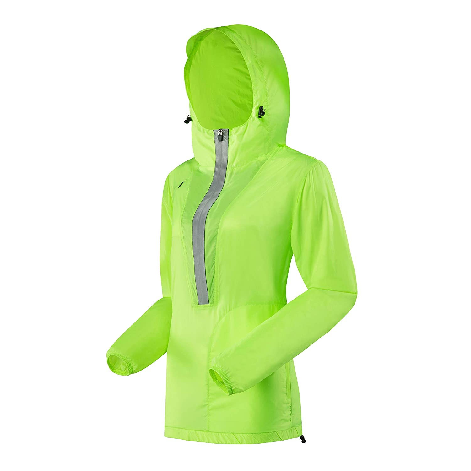 Hooded, Flourencent Yellow J.CARP Women's Windproof Jacket, Big Reflective Elements, Hooded and Packable Fluorescent Green