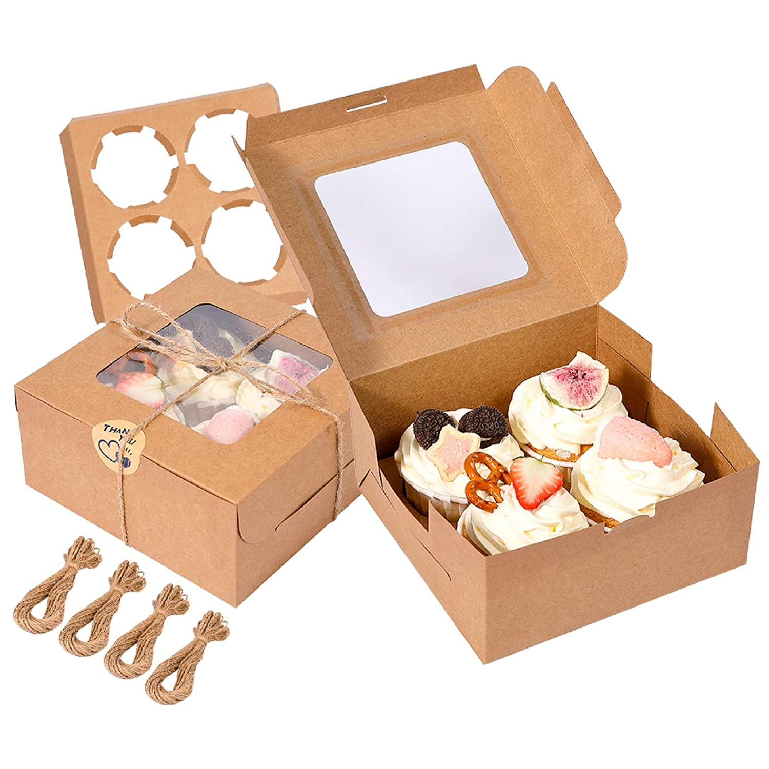 50 Pack Brown Bakery Cake Boxes with Display Window, 6x6x3 Inches Pastry Boxes with Removable Inserts Blessing Stickers, Mini Cookie Cake Boxes for Cupcake, Cookie, Dessert, Pastry