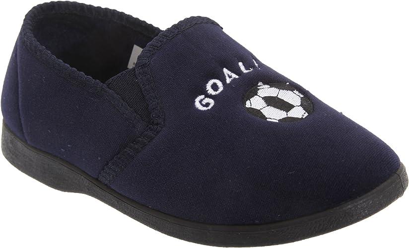 Zedzzz Boys MIDFIELD Football Indoor Slippers Navy Blue Velour