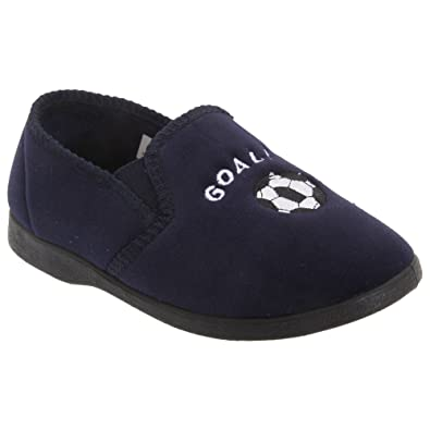 Amazon.com | Zedzzz Kids Big Boys Midfield Twin Gusset Football Slippers |  Slippers