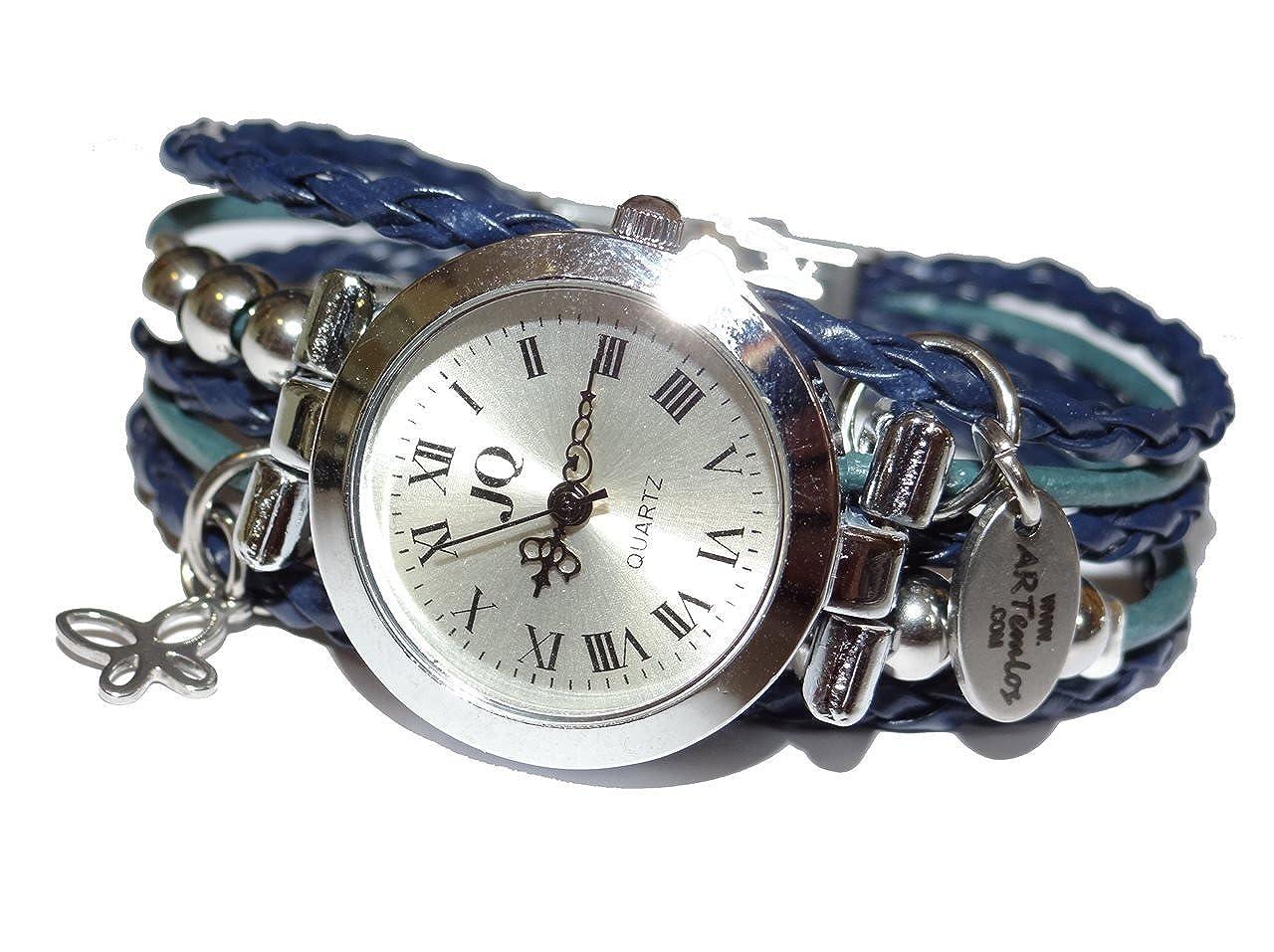 ArteM los® hecha a mano de mujer reloj de acero inoxidable, Metal Y Piel en Color Azul Oscuro/Color Azul: Amazon.es: Joyería