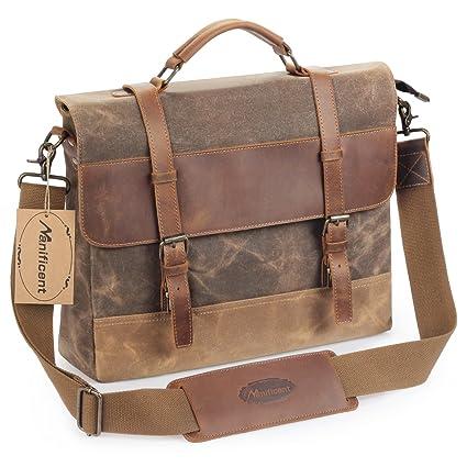 e03bc3248 Manificent 16 Inch Men's Messenger Bag, Vintage Waxed Canvas Genuine Leather  Large Satchel Shoulder Bag