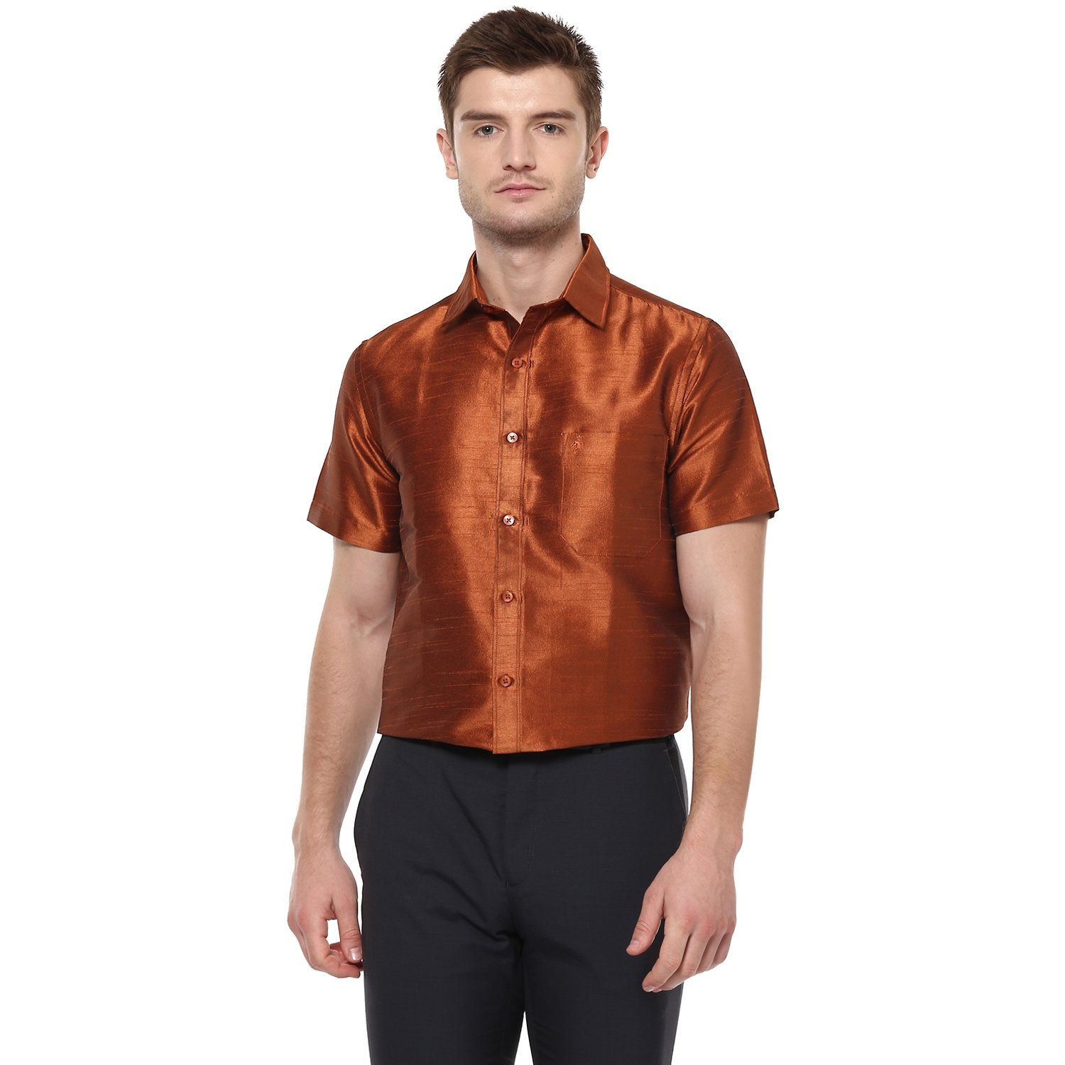 f310eea238023 Khoday Williams Men s Dark Gold Poly Silk Solid Shirt  Amazon.in  Clothing    Accessories