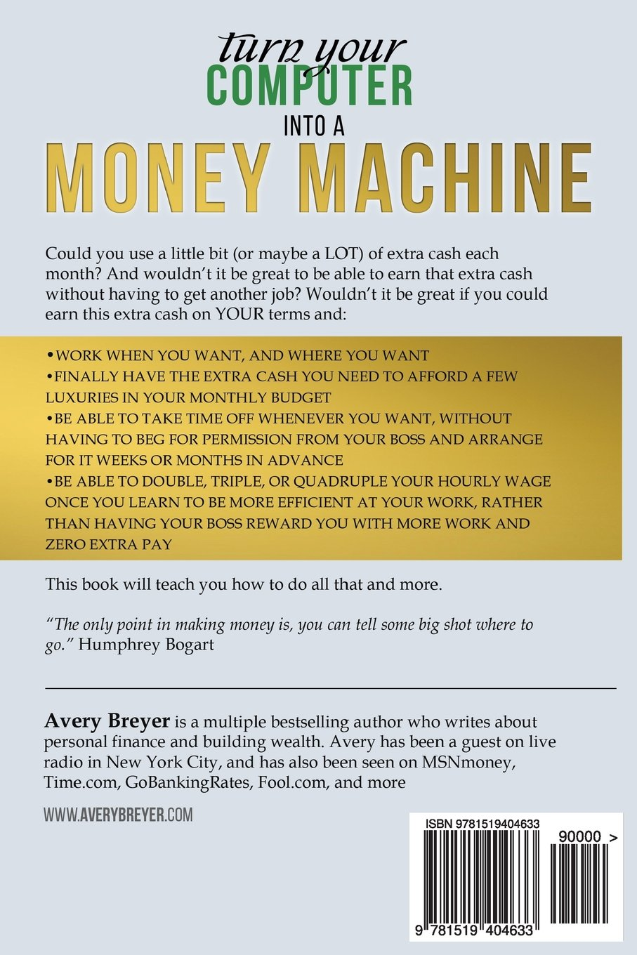 Turn Yourputer Into A Money Machine: How To Make Money From Home And  Grow Your Income Fast, With No Prior Experience! Set Up Within A Week!: