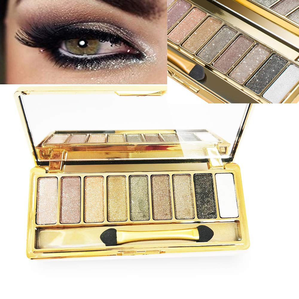 zinnor Eyeshadow Palette Eye Shadow Palette with Makeup Brush 9 Colors Sparkling Shimmer Eyeshadow Diamond Bright Colorful Eye Shadow