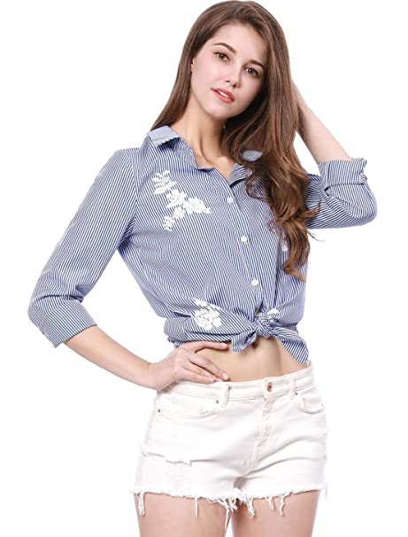0c32a990521 Allegra K Women s Business Casual Striped Floral Button Down Shirts XS Blue