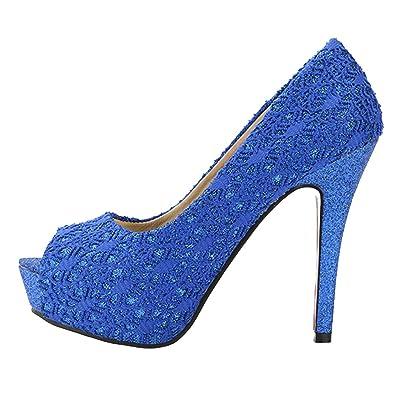AIYOUMEI Damen Peep Toe Stiletto Extrem High Heels Spitze Pumps mit Plateau und 12cm Absatz Elegant Party Schuhe jbCOe7