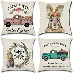 LIYACHAO Easter Pillow Covers 18x18 Inch Set of 4, Rabbit Bunny Throw Pillow Case Cushion Cover Happy Easter Spring Season's Decorations for Home Sofa Bed