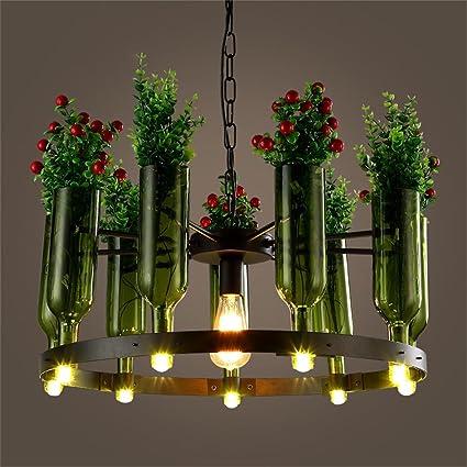 Araña de luces- Personalidad Creativa Botella Hierro Tiesto lámpara de Cristal de la Sala Dormitorio