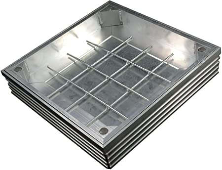 300mm x 300mm x 48mm Clear Opening Double Sealed Aluminium Recessed Manhole Cover Frame /& Keys//For Paving Garden Exterior Decorative//DS-Line 60mm Depth