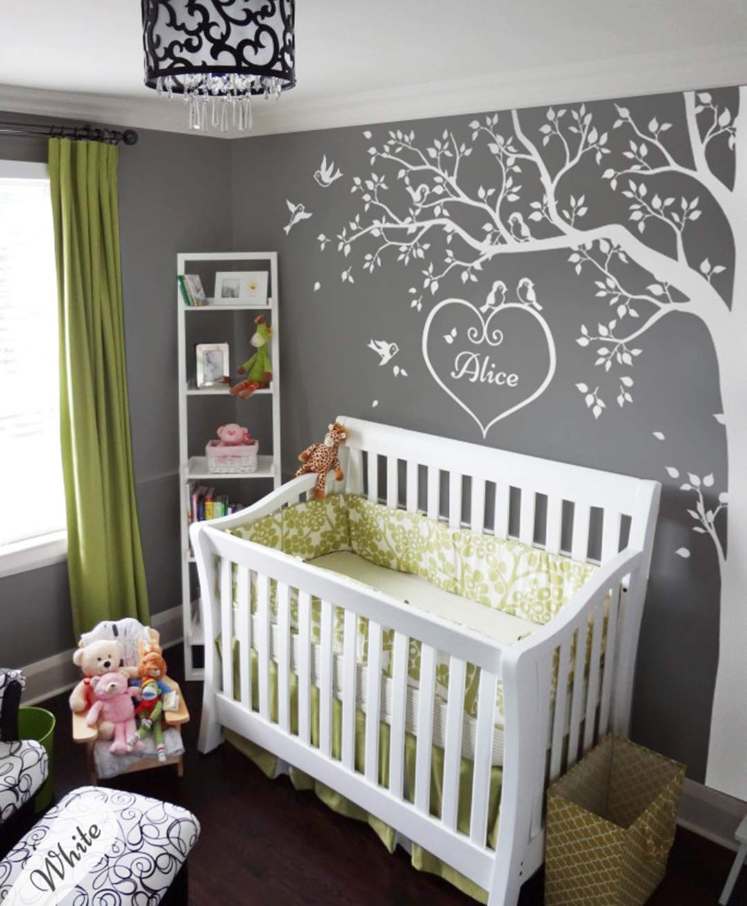 Large white tree wall decal set for baby nursery tree wall sticker tattoo KW032
