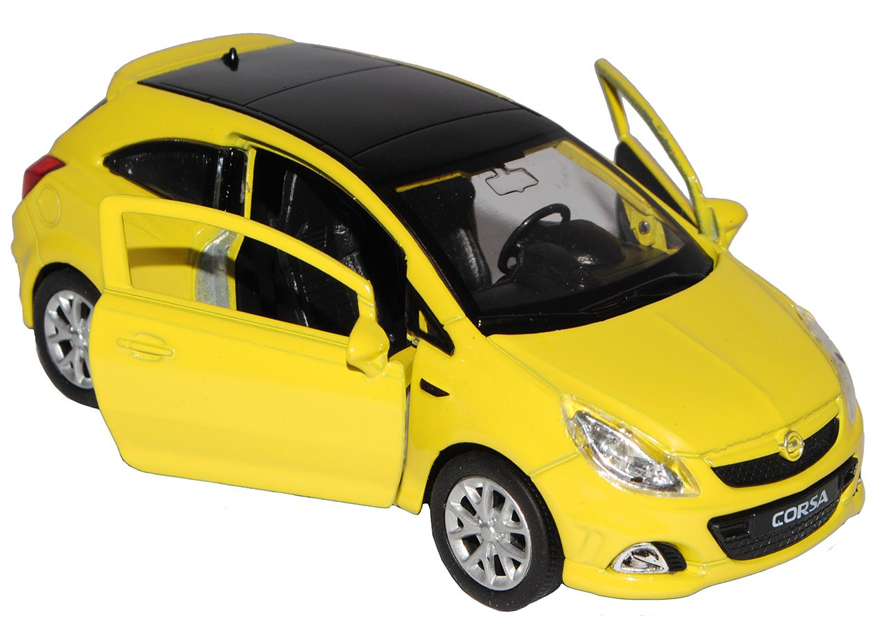 Welly Opel Corsa D OPC 3 T/ürer Gelb 2006-2014 ca 1//43 1//36-1//46 Modell Auto mit individiuellem Wunschkennzeichen
