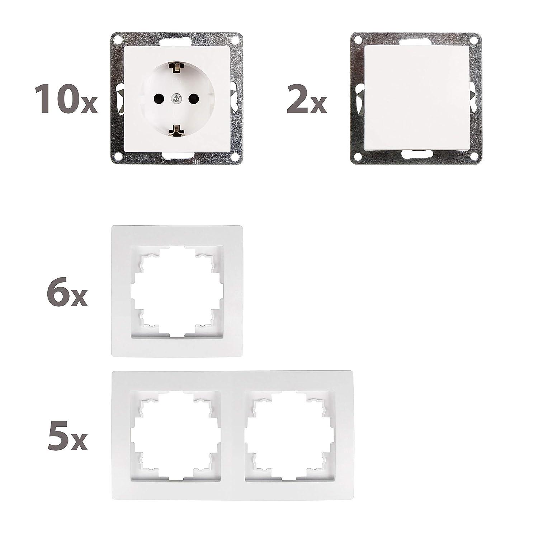 McPower Flair Standard plus Juego de interruptores y enchufes 21 piezas color blanco