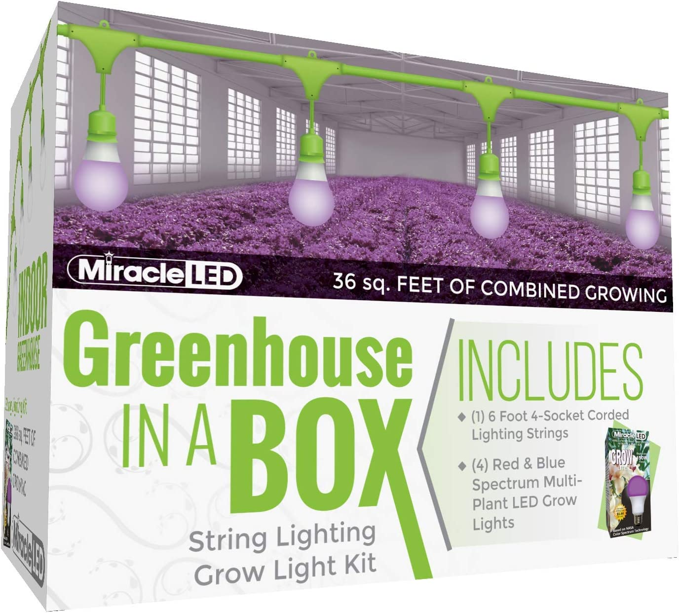 Miracle LED Greenhouse in a Box Grow Kit for Indoor Plants - Red & Blue Spectrum Yield Grow 150W Grow Light Bulbs & 4-Socket Corded Light Fixture