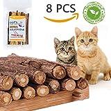 TanJean 8pcs Katzenminze Sticks Matatabi-Kausticks I 100% Geld Zurück Garantie, 100% natürliches Katzen-Zahnkauen für Zahn-Reinigung, Innenkatzen-Spielzeug für Gesunde Zähne