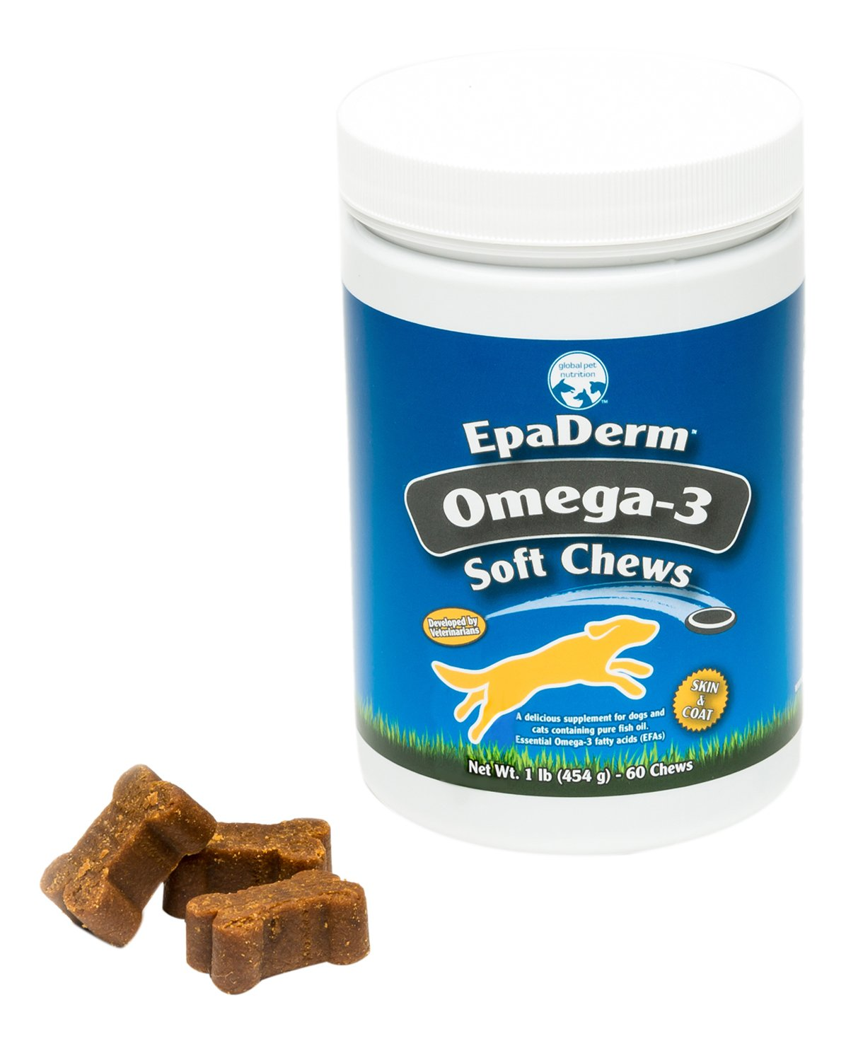 Omega 3 Soft Chews for Dogs & Cats- 1 Pound of Highly Concentrated Soft Chews- GREAT VALUE. Excellent for Skin & Coat- Reduce Shedding & Itching