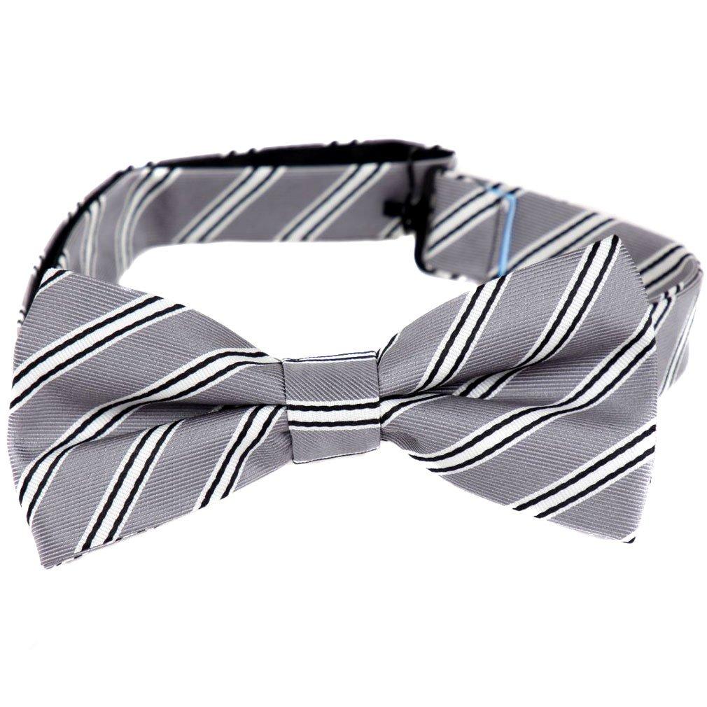 PBTZ-47 Mens Aficionado Pre-Tied Bow Tie Silver White Black by Buy Your Ties