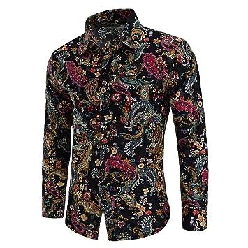 SFSF Camisa de Lino de los Hombres Ajustado Camisa Estampada Talla Grande Solapa Manga Larga Cardigan botón Adolescentes Hombres Moda Negocio Ocio Camisa,L: Amazon.es: Deportes y aire libre