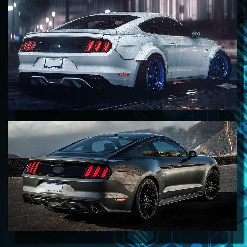 TurningMax Smoke Lens 48-SMD Red Rear Side Maker LED Lights For 2015-2019 Ford Mustang