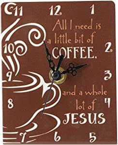 Little Bit of Coffee A Lot of Jesus Brown 4.5 x 4 Metal Table Top Clock Sign Plaque