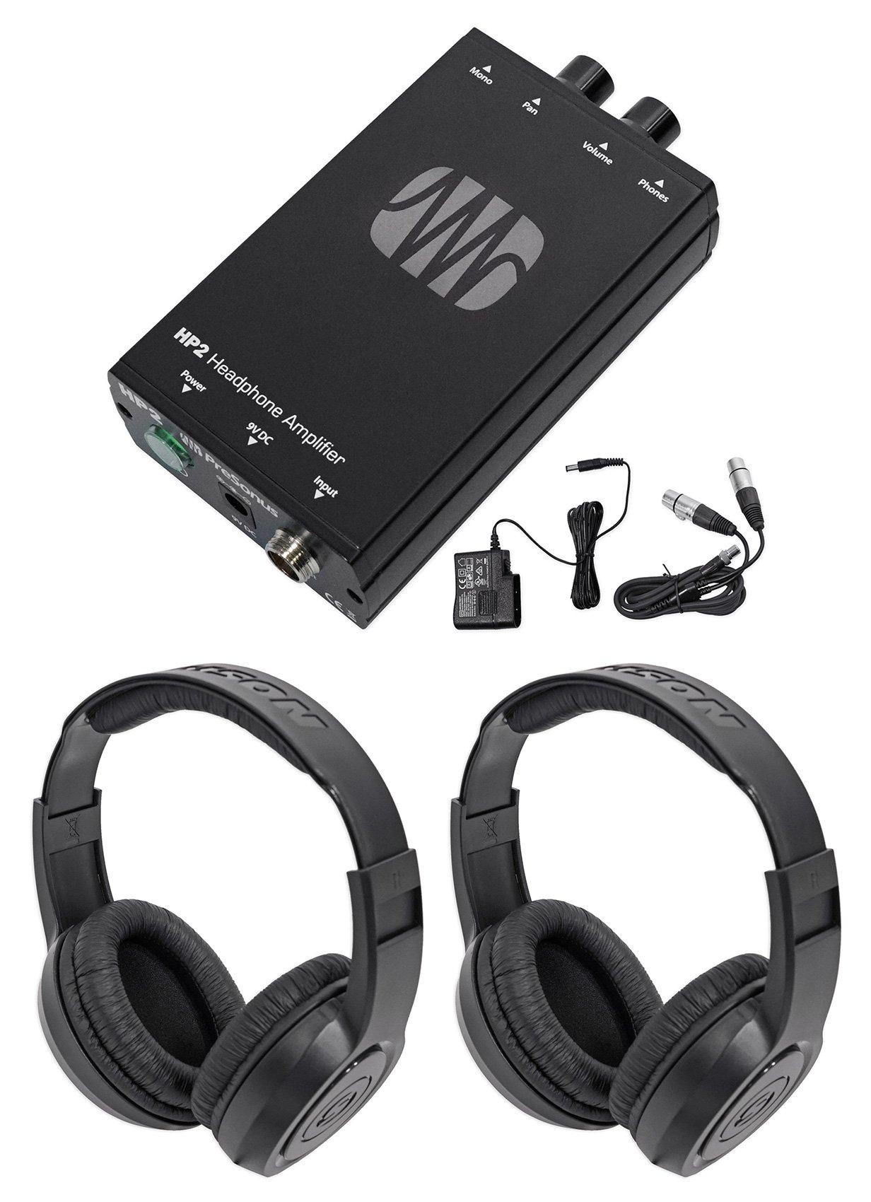 Presonus HP2 2 Channel Stereo Headphone Amplifier System HP-2+Samson Headphones