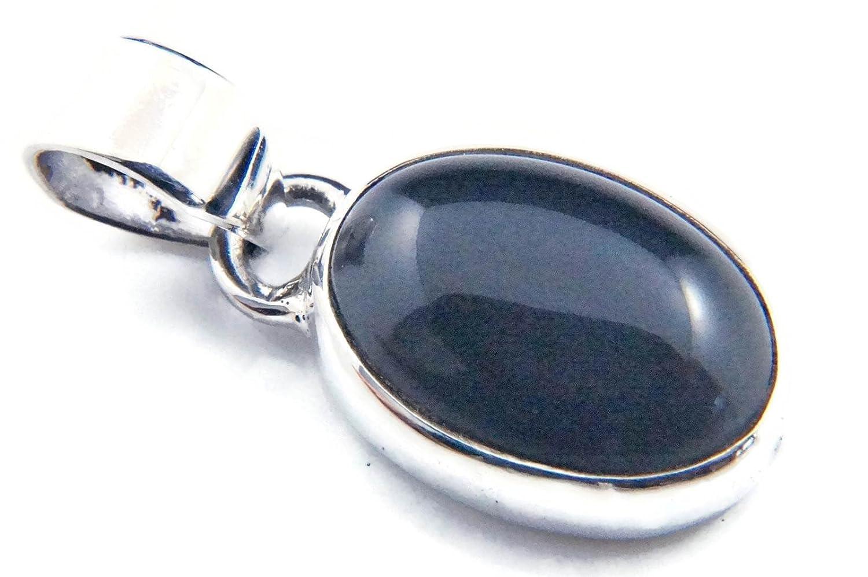 Kettenanhänger Medaillon Silber 925 Sterlingsilber Onyx schwarz Stein 11 mm x 25 mm (MAH 81) mantraroma