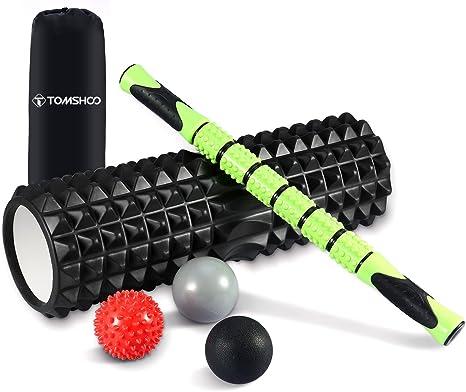 TOMSHOO Foam Roller Kit, 6 en 1 Kit de Rodillo Masaje Muscular con ...