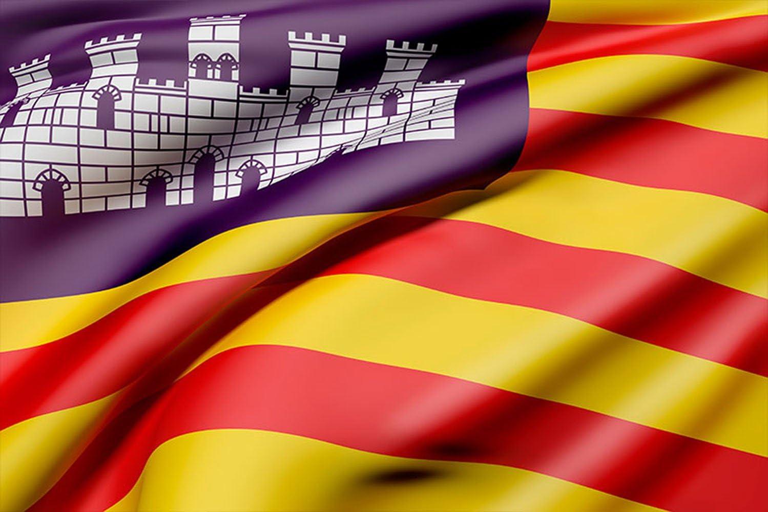 Oedim Bandera de La Comunidad de Las Islas Baleares 85x150cm | Reforzada y con Pespuntes| Bandera de La Comunidad de Las Islas Baleares con 2 Ojales Metálicos: Amazon.es: Hogar