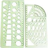 LGEGE 2PCS Green Color Complete Shape Plastic Measuring Templates Geometric Rulers Drawing Rulers