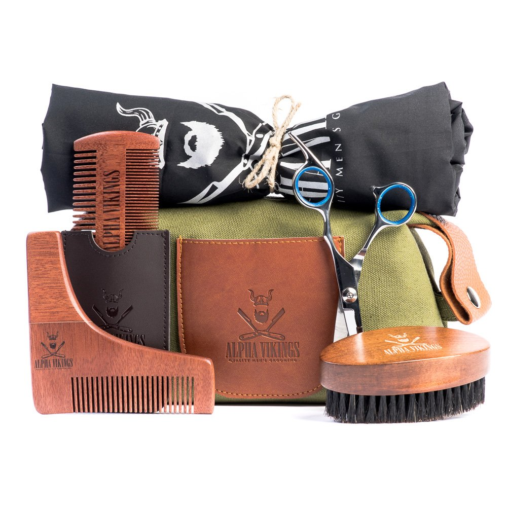 Alpha Vikings - Complete Beard Grooming Kit for Men Care with Canvas Bag - Includes Beard Brush, Wooden Beard Comb with Leather Pouch, Barber Scissors for styling, Beard Bib, Beard Shaper