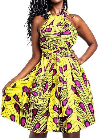 Beautiful Polyster  Dashiki Africa Tribal Print Women Halter Neck DressTop