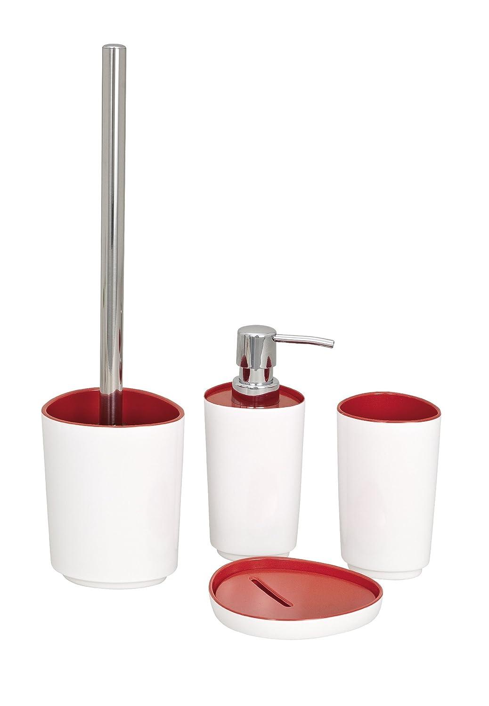 Wenko 19453100 Alcamo - Dispensador de jabón líquido (melamina), color blanco y rojo: Amazon.es: Hogar