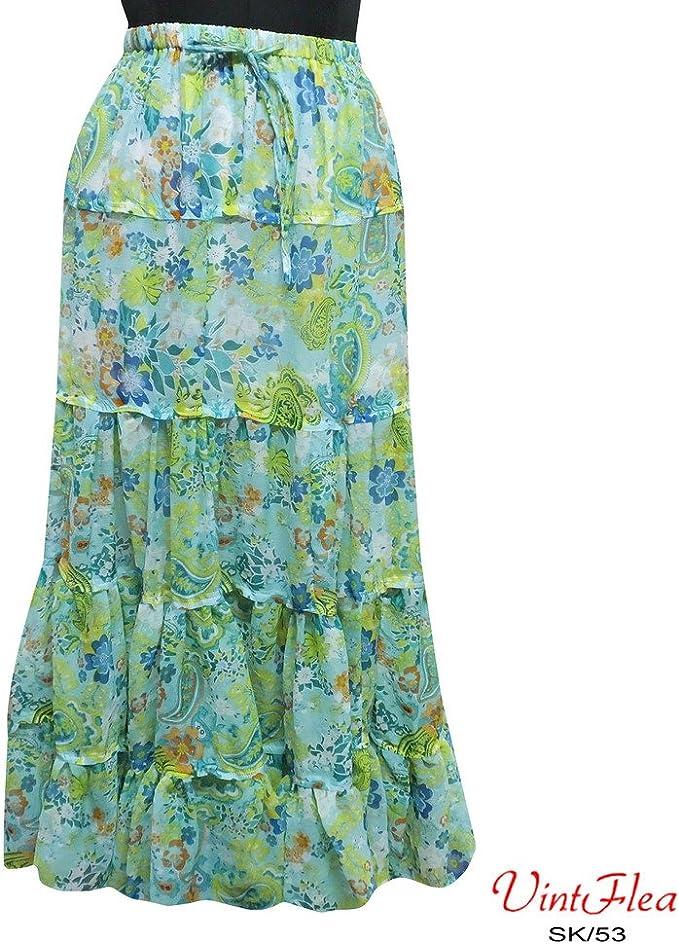 falda impresa floral vestido pareo indio gasa maxi faldas de tela ...
