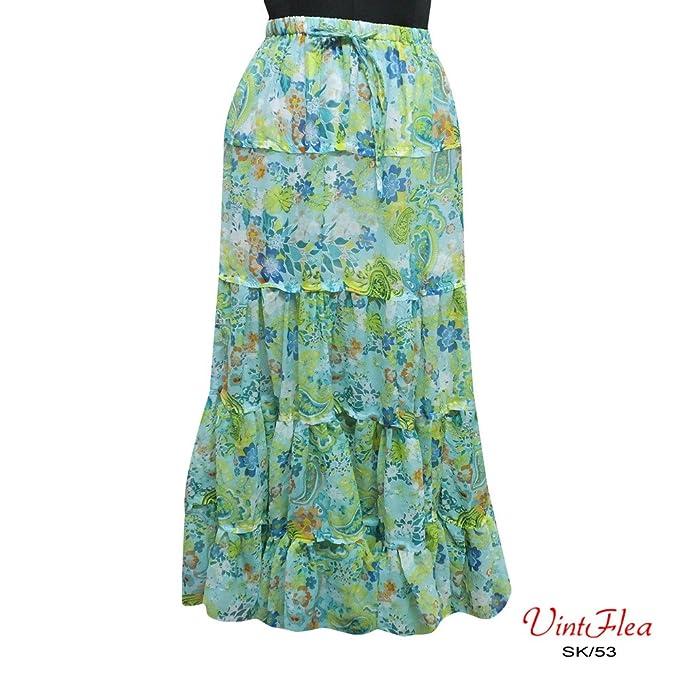 falda impresa floral vestido pareo indio gasa maxi faldas de tela de las mujeres boho