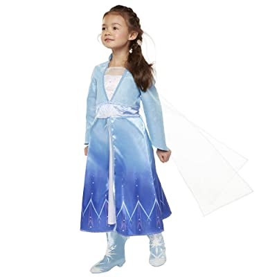 Disney Frozen 2 Elsa Adventure Girls Role-Play Dress Features Ice Crystal Winged Cape, Sleek Dress Cut with Glittery, Frosty Trim - Fits Sizes 4-6X, For Ages 3+: Toys & Games