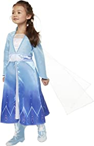 Disney Frozen 2 Elsa Adventure Girls Role-Play Dress Features Ice Crystal Winged Cape, Sleek Dress Cut with Glittery, Frosty