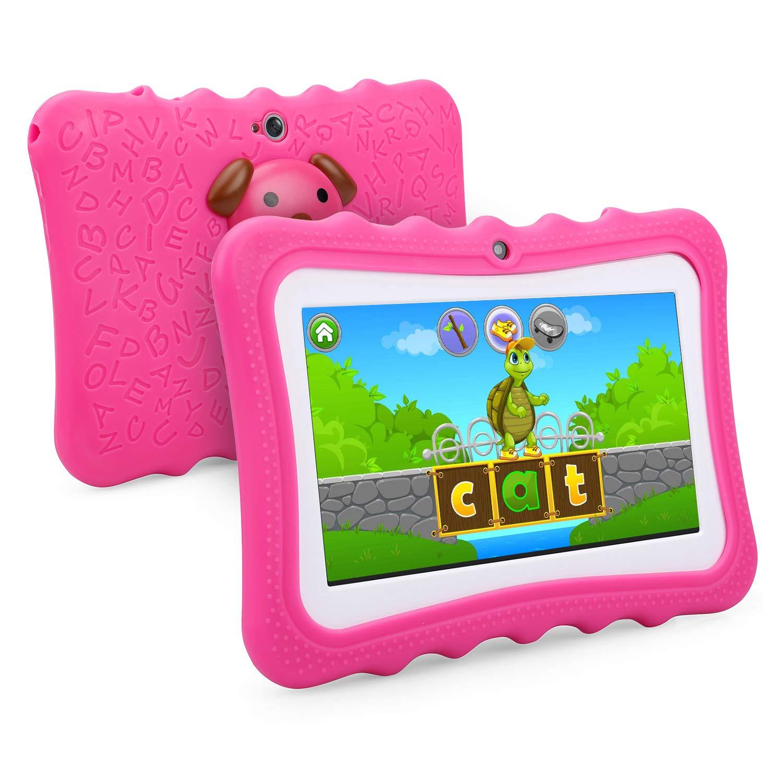 Tablette Tactile Enfants Tablette 7 Pouces WiFi & Bluetooth, IPS HD 1024x600, Quad Core 1 GO Ram 8 GO Rom, Kidoz & Google Play Pré installé , Contrô le Parental, avec Etui Rose Kidoz & Google Play Préinstallé Contrôle Parental beneve
