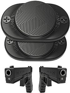 Hill & Wood Gun Magnet [2-Pack]   30 lbs Rated   Rubber Coated Magnetic Gun Mount Gun Magnet-Concealed Gun Holder for Car, Handgun, Pistol, Rifle, Shotgun, Revolver