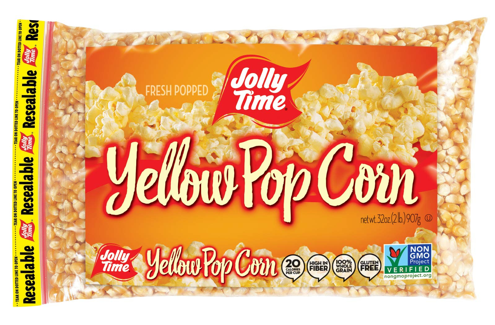 JOLLY TIME Gourmet Unpopped Popcorn Kernels, Non-GMO Yellow Popping Corn, 2 lb. Bags (Pack of 12) by Jolly Time